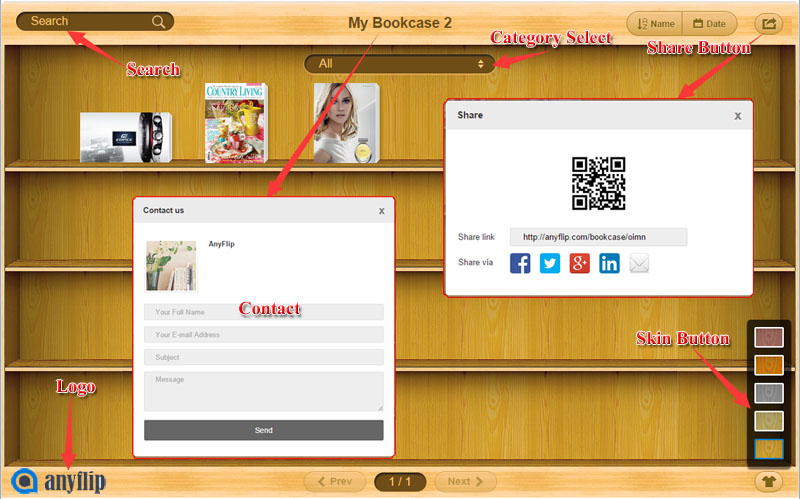 5 Show Ons Or Tools While Viewing The Bookcase Search Contact Panel Share On Skin Category Select And Logo